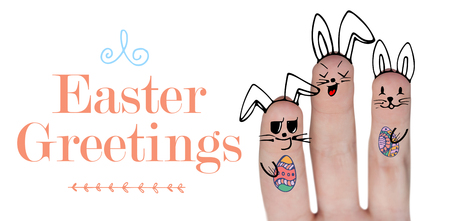 Vector image of fingers representing Easter bunny  against easter greeting Stock Photo