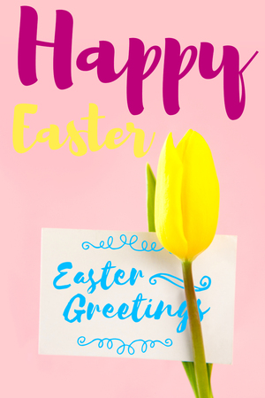 up code: Easter greeting against tulip with card