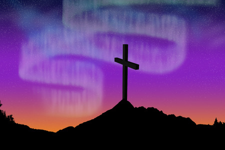black mountain against white background against vector image of wooden cross