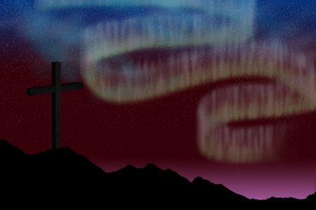 three wishes: Mountains against digitally generated image of 3d cross Stock Photo