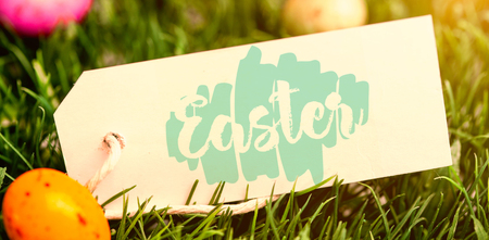 illustration_templates_all against blank tag with easter eggs Stock Photo