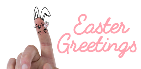 Vector image of fingers as Easter bunny  against easter greeting