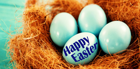 up code: Easter greeting against blue easter eggs in nest