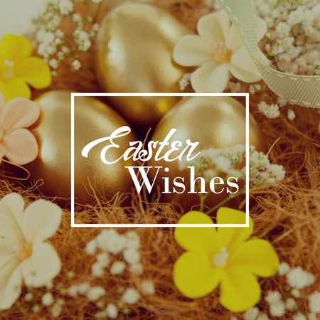 golden egg: Easter greeting against golden easter eggs with flowers in nest Stock Photo