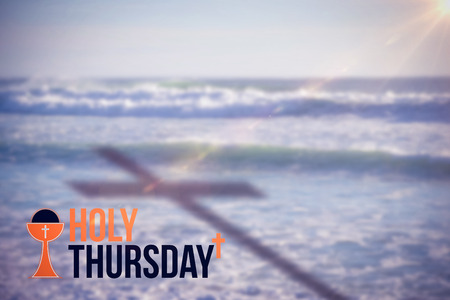 Holy Thursday text against white background against water waves