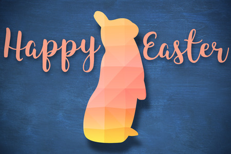 three wishes: Easter greeting against blue background