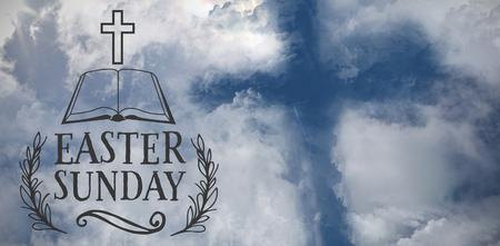 Easter message against cross shape in the sky Reklamní fotografie