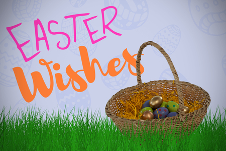 Easter eggs in paper nest basket against purple paper Stock Photo