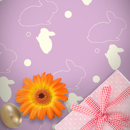Picture of a flower against gifts in a white background