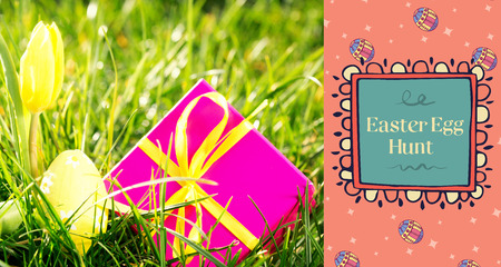 TE252_hndr_easter_frames_mix_2 against pink gift box with easter egg and yellow tulip Stock Photo
