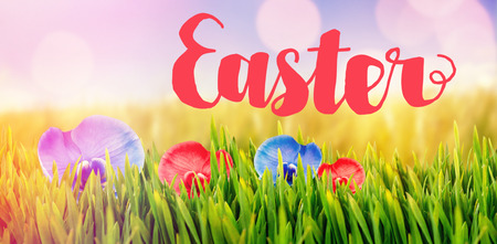Easter greeting against glowing background