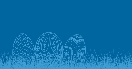 Composite image of easter eggs against royal blue