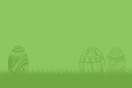Composite image of easter eggs against green background Stock Photo
