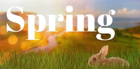 Easter greeting against view of beautiful coastline