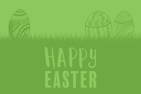 Composite image of easter greeting against green background