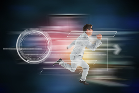 Geeky happy businessman running mid air against global connection background Stock Photo