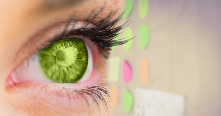 companionship: Digital composite of Green eye with sticky notes in background Stock Photo