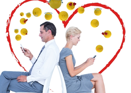 well dressed woman: Digital composite of Couple speaking with the mobile and feeling love. Emoji.