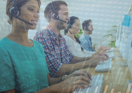 Digital composite of Customer service people with chart graphic overlay Imagens