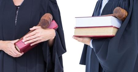 Digital composite of Judge hands men and women collection