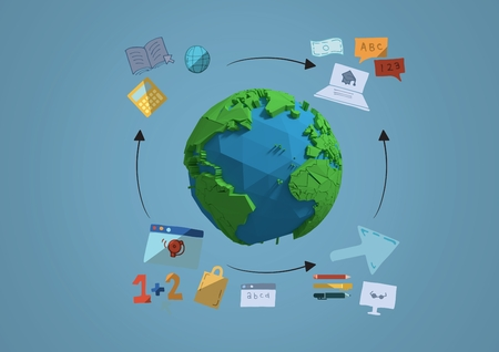 Digital composite of 3D earth with graphic about school