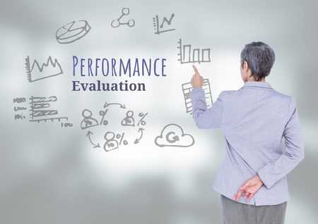 Digital composite of Businesswoman touching Performance Evaluation text with drawings graphics