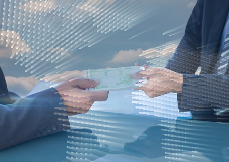 floorboards: Digital composite of Business people swapping money with map graphic overlay against sky