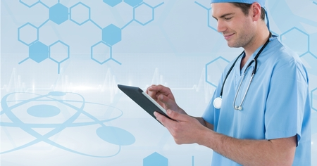 dna smile: Digital composite of Nurse (men) catching notes with his tablet