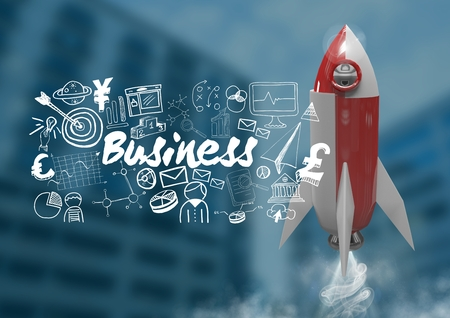 Digital composite of 3D Rocket flying and Business text with drawings graphics