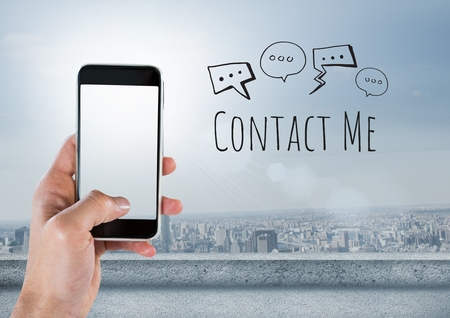 tablet pc in hand: Digital composite of Hand holding phone and Contact Me text with drawings graphics