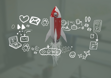 Digital composite of 3D Rocket flying and media icons drawings graphics