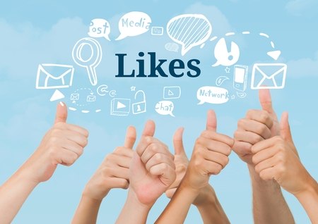 Digital composite of Many hands thumbs up with Likes text with drawings graphics