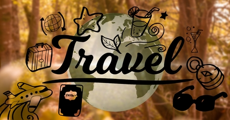 Digital composite of Travel graphic and 3D earth with forest background Stock Photo