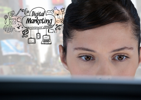 e commerce icon: Digital composite of Woman on laptop with Digital Marketing text with drawings graphics