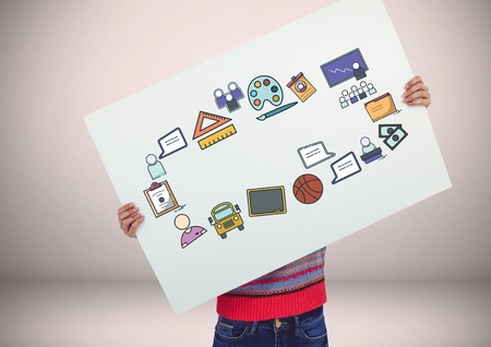 envelop: Digital composite of Person holding card with craetive education icons graphics drawings
