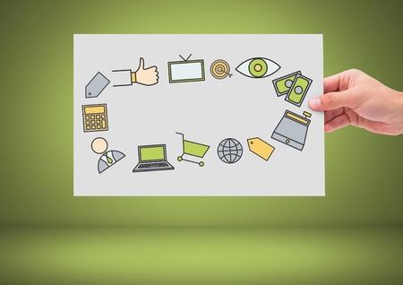 オンライン ショッピングのアイコン グラフィック図面手保持カードのデジタル合成