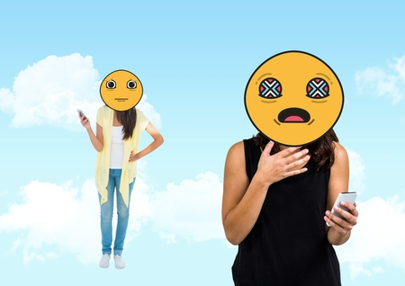 dreariness: Digital composite of bad notice, young girls. Emoji face.