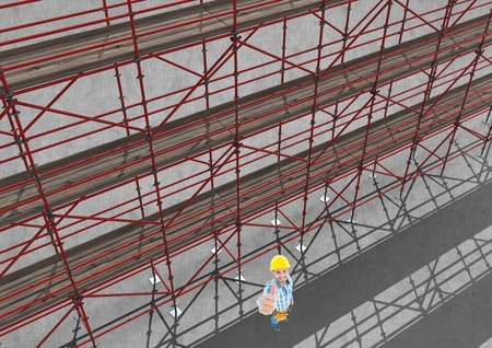 Digital composite of Sky view of 3D scaffolding beside happy builder raising his hand