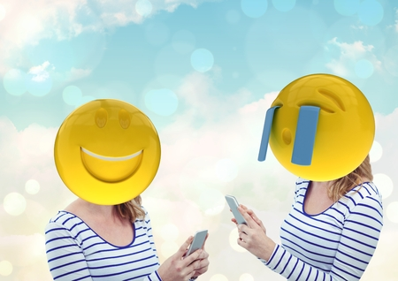dreariness: Digital composite of Woman laughing and crying. Emoji face. Stock Photo