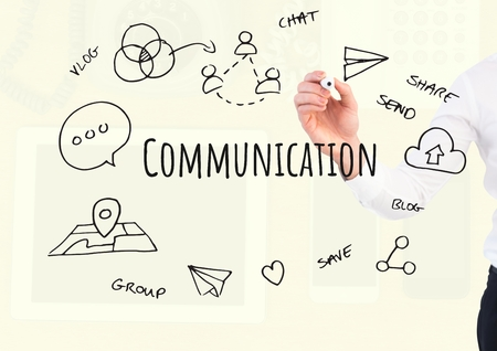writing on screen: Digital composite of Hand writing Communication text with drawings graphics Stock Photo