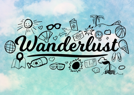Digital composite of Wanderlust graphic with sky background