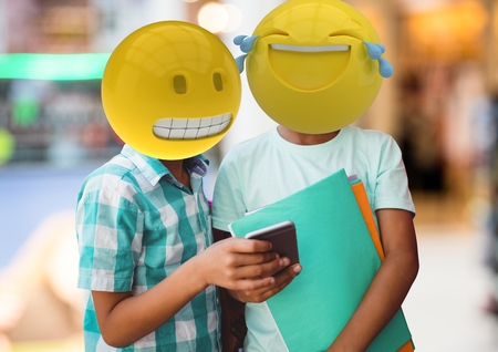 Digital composite of Friends laughing with a message. Emoji face.