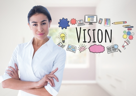 Digital composite of Powerful Woman with Vision text with drawings graphics