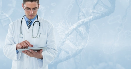geneticist: Digital composite of Doctor (men) with tablet and blue background
