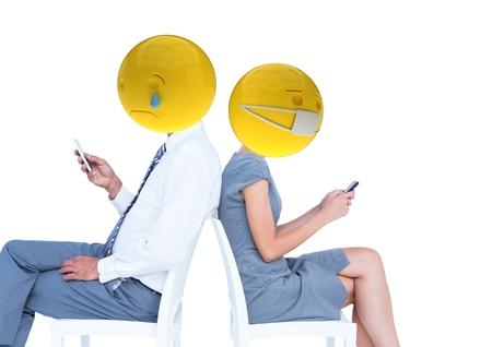 Digital composite of Friends sending messages. Emoji face. Stock Photo