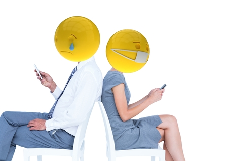 tensed: Digital composite of Friends sending messages. Emoji face. Stock Photo
