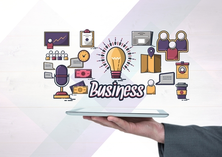 cropped: Digital composite of Hand holding tablet with Business text with drawings graphics