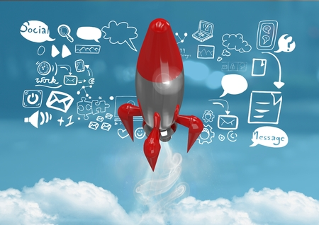 Digital composite of 3D Rocket flying and social media icons text with drawings graphics Stock Photo