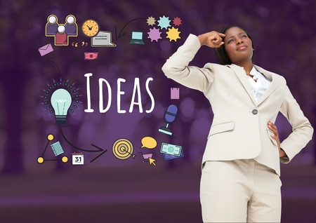 Digital composite of Businesswoman thinking with Ideas text with drawings graphics