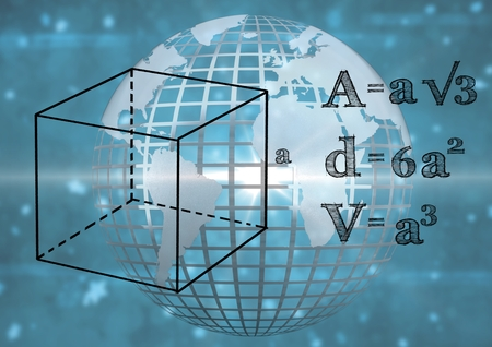 Digital composite of 3D technological earth with blue background and mathematics graphic